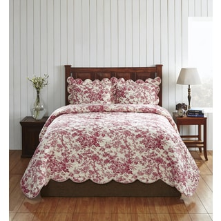 Diane Red and White Cotton Floral Quilt Set