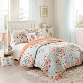INK+IVY Kids Hana Blue Cotton 4-piece Coverlet Set