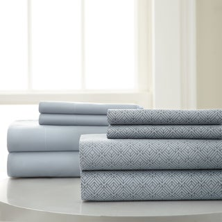 Amraupur Overseas 8-Piece Diamond Printed and Solid Color Polyester Microfiber sheet set
