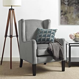 Dorel Living Rossland Grey Wingback Accent Chair