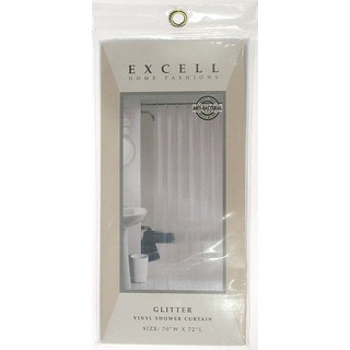 """Excell 1ME-40O-470-960 70"""" X 72"""" Clear Luxury Glitter Vinyl Shower Curtain"""