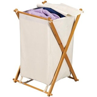 Household Essentials 6781 Single X-Frame Solid Wood Hamper W/Natural Canvas Bag & Lid