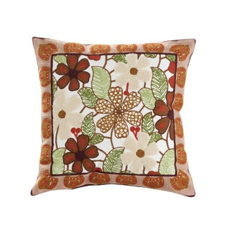 Aster Multicolored Cotton Blend/Polyester Fill 18-inch x 18-inch Square Embroidered Floral Print Throw Pillow