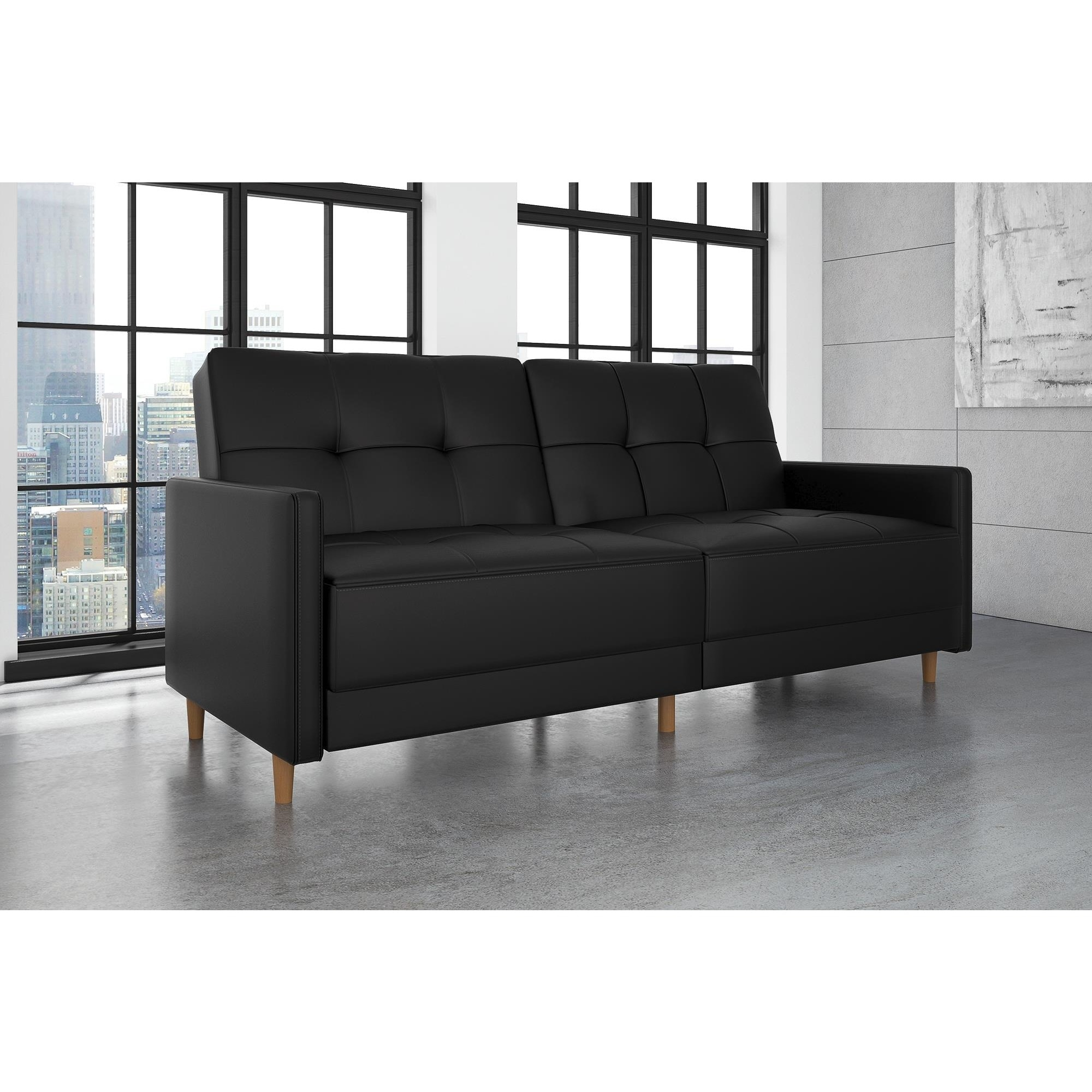 shop com futons futon nola walmart furniture tufted black dhp