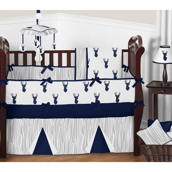 Sweet Jojo Designs 9 Piece Boy Crib Bedding Set For The Navy And White Woodland