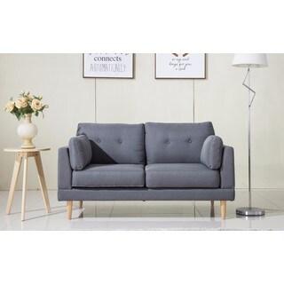 Mid-Century Modern Ultra Plush Grey Linen Fabric Loveseat