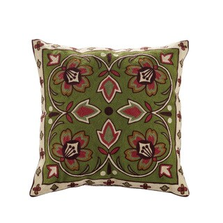 Bredbeddle Embroidered Multicolored Cotton Throw Pillow