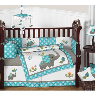 Sweet Jojo Designs Mod Elephant Collection Multicolor Cotton/Microsuede 9-piece Crib Bedding Set
