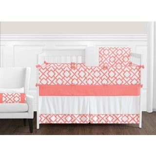 Sweet Jojo Designs Girls' White and Coral Mod Diamond Collection 9-piece Crib Bedding Set
