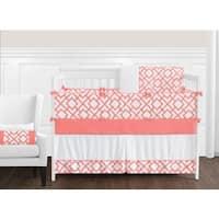 Sweet Jojo Designs Girls' White and Coral Mod Diamond Collection 9-piece Crib Bedding Set