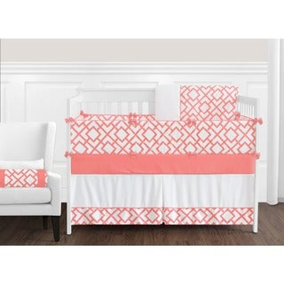 Link to Sweet Jojo Designs Girls' White and Coral Mod Diamond Collection 9-piece Crib Bedding Set Similar Items in Baby Blankets