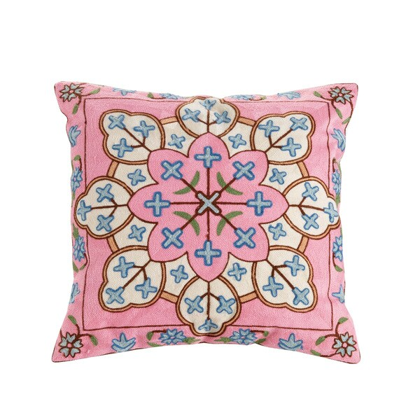 Layla Embroidered Cotton/Polyester 18-inch Throw Pillow