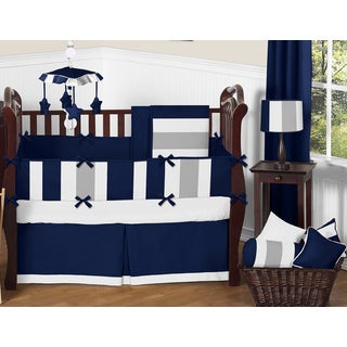 Sweet Jojo Designs Navy Blue and Grey Striped Microfiber Collection 9-piece Crib Bedding Set