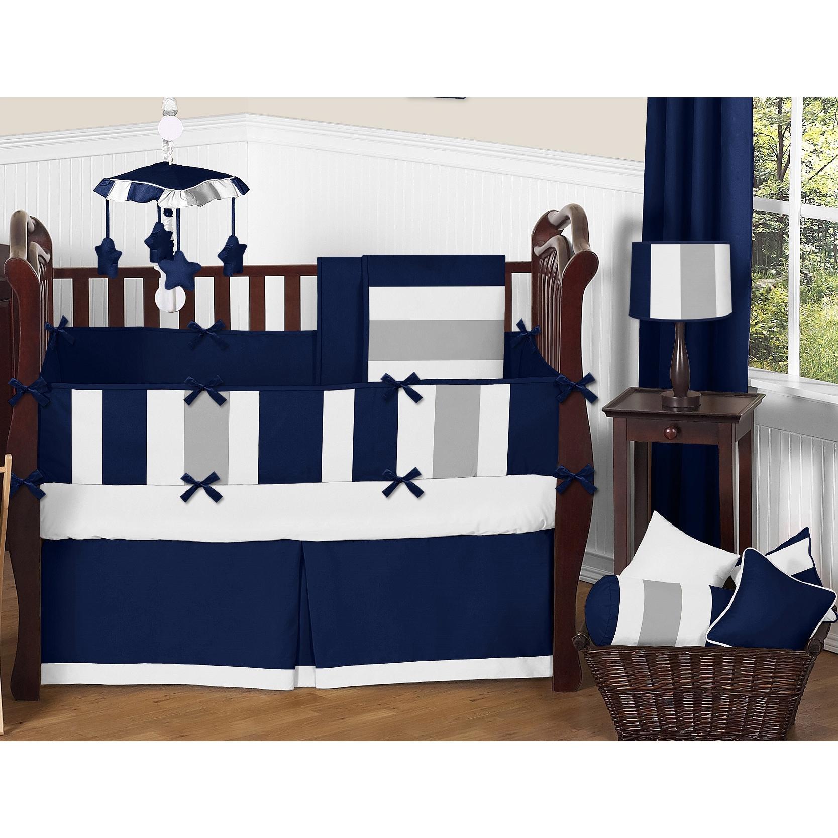 Sweet Jojo Designs Navy Blue And Grey Striped Microfiber Collection 9 Piece Crib Bedding Set