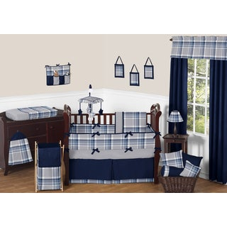 Sweet Jojo Designs Boys' Navy Blue and Grey Plaid Collection 9-piece Crib Bedding Set