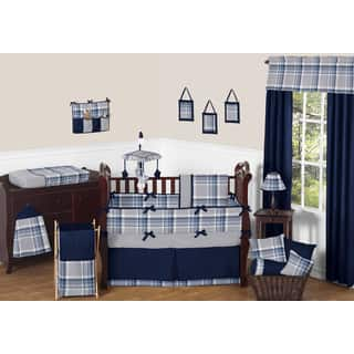 Sweet Jojo Designs Boys' Navy Blue and Grey Plaid Collection 9-piece Crib Bedding Set