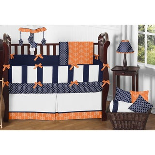Sweet Jojo Designs Arrow Collection Orange and Navy Blue Microfiber 9-piece Crib Bedding Set