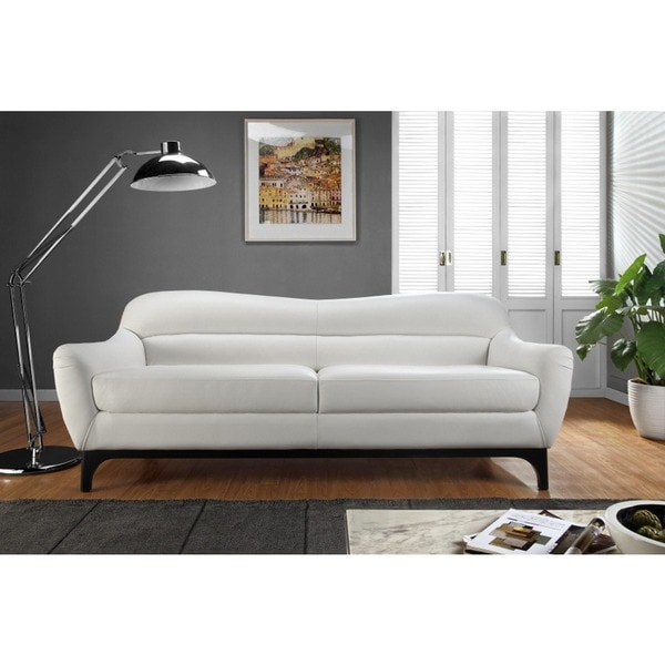 Shop Wollo White Top Grain Leather Sofa Free Shipping Today