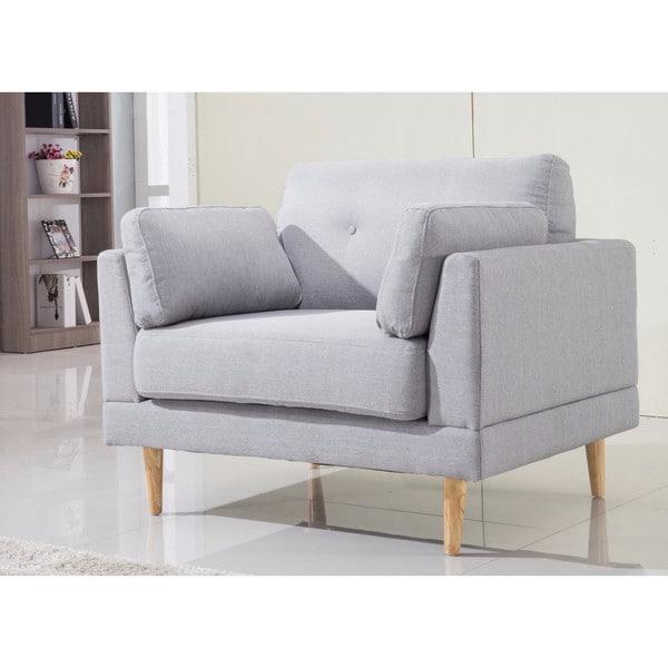 Mid Century Modern Ultra Plush Linen Fabric Accent Chair