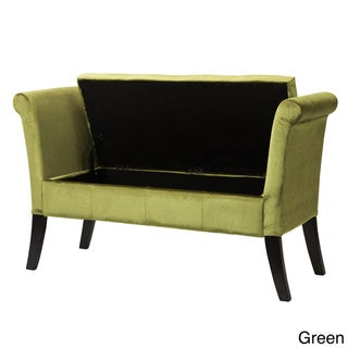 Antonio Velvet Upholstered Storage Bench with Scrolled Arms ( AS IS ITEM)