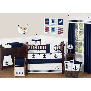Sweet Jojo Designs Anchors Away Collection Cotton 9-piece Crib Bedding Set