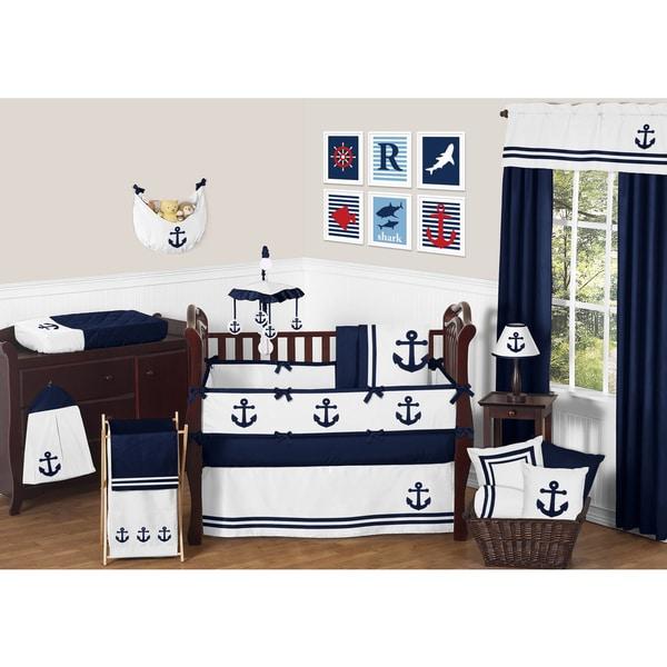 Sweet Jojo Designs Anchors Away Collection Cotton 9-piece Crib Bedding Set
