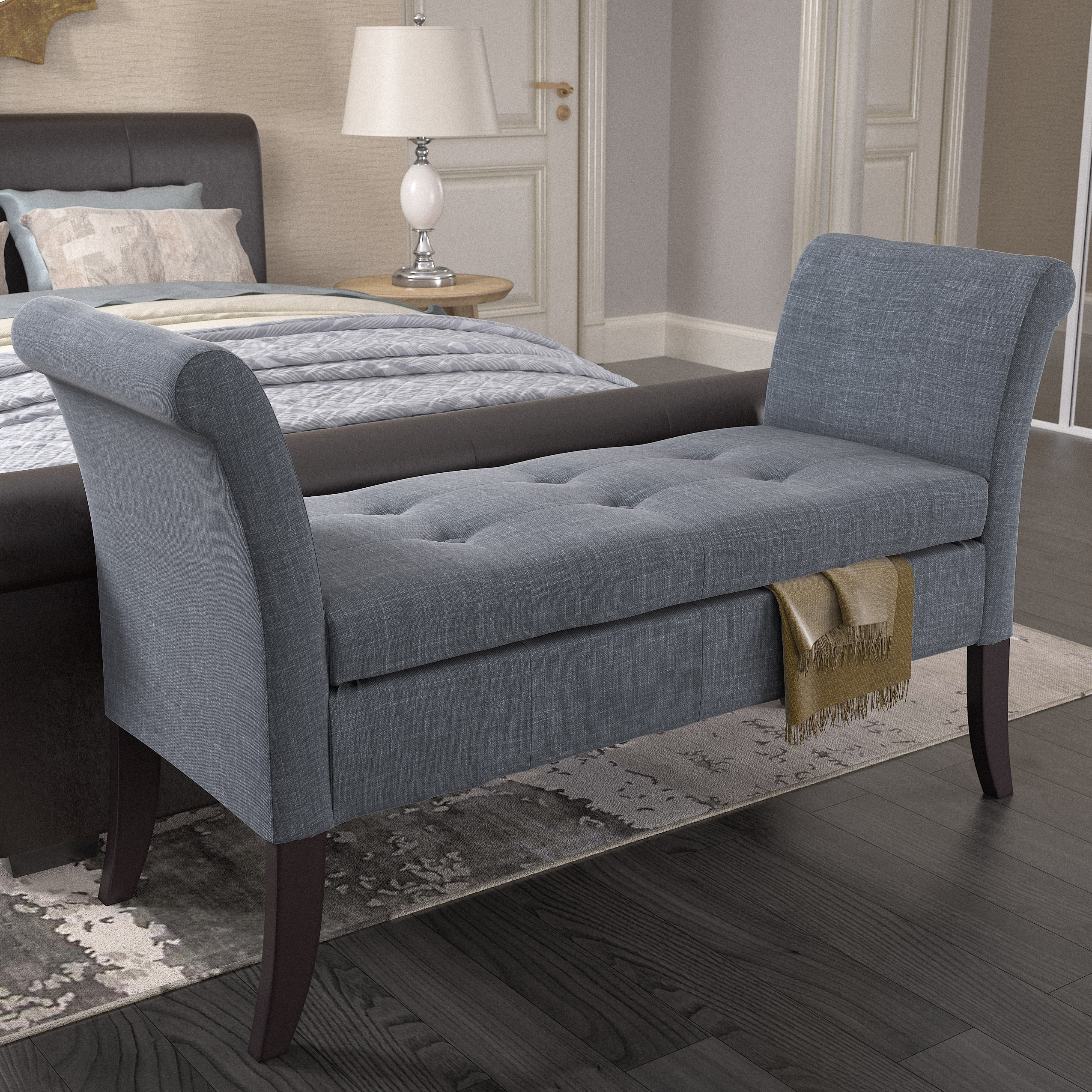 Storage With Idea Bedroom Bench With Arms