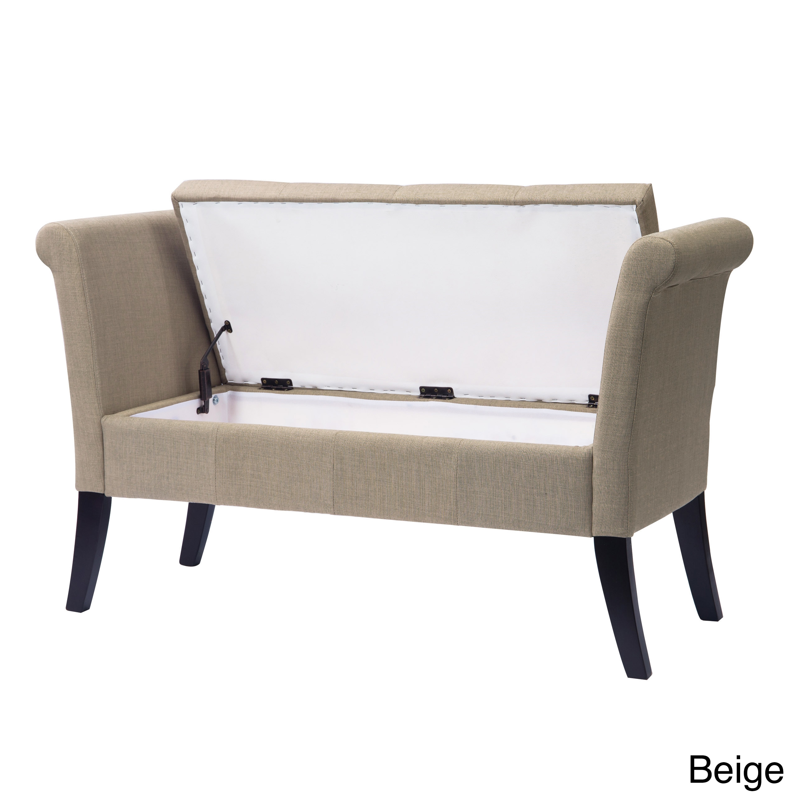 CorLiving Antonio Upholstered Storage Bench with Scrolled...