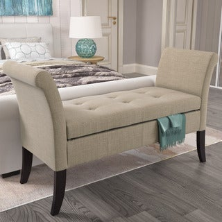 CorLiving Antonio Upholstered Storage Bench with Scrolled Arms