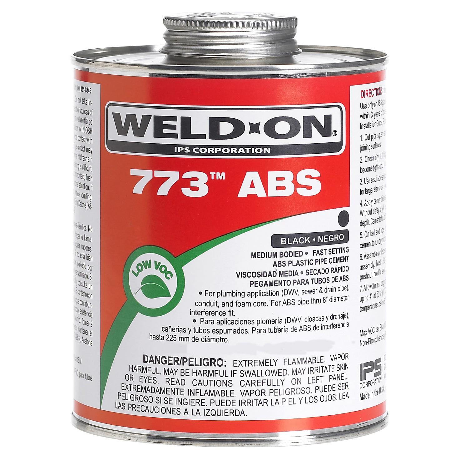 Ips Weldon 10246 1/4 Pint Black 773 ABS Plastic Pipe Ceme...
