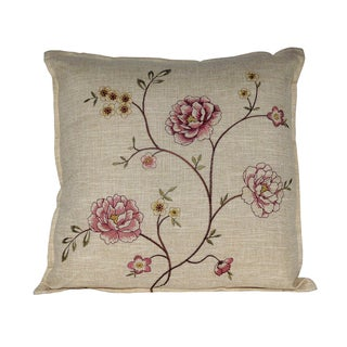 Serenta Faux Linen Embroidery Decorative Throw Pillow 2-piece Set