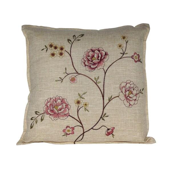 Linen Monogram Throw Pillow: Shop Serenta Faux Linen Embroidery Decorative Throw Pillow