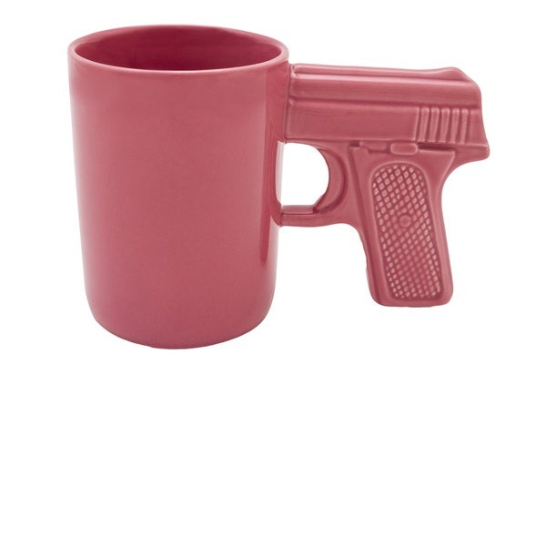AGS Brand Pink Ceramic 16.9-ounce Gun Mug (Set of 2)