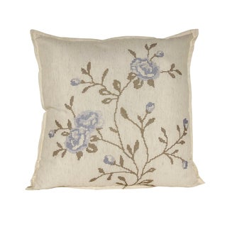 Serenta Multicolored Faux-linen Embroidered Decorative Throw Pillow