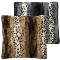 Stephanie Black/Brown Faux Fur Decorative Throw Pillow Pair