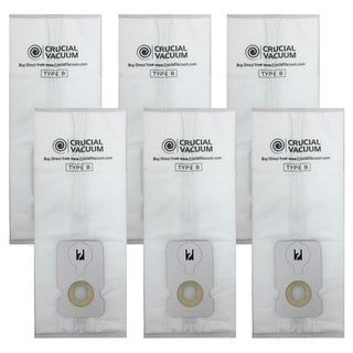 Crucial Vacuum Simplicity White Cotton Cloth B Bags for Riccar C15-6, C15-12, S7-6, and S7-12 Vacuums (6 Pack)