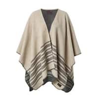 IBENA Pure Cotton Twill Striped Blanket Poncho