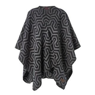 Pure Savona Black/Grey Cotton Blanket Poncho