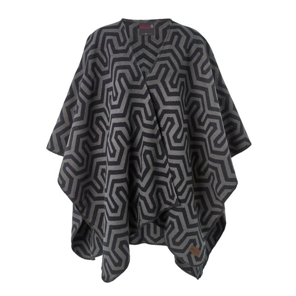 IBENA Pure Savona Black/Grey Cotton Blanket Poncho