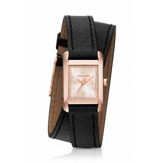 Michael Kors Women's MK2442 'Taylor' Black Leather Watch