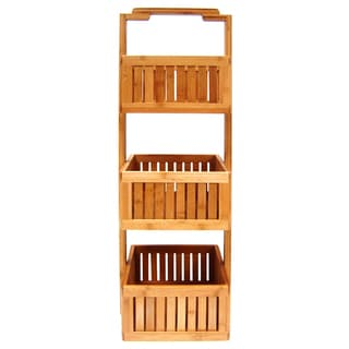 Organize It All 29948W 3 Basket Bamboo Lohas Stationary Bathroom Caddy
