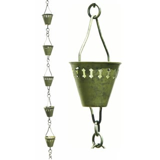 Patina Products R250 8.5' Stainless Steel Verdigris Shape Cup Rain Chain