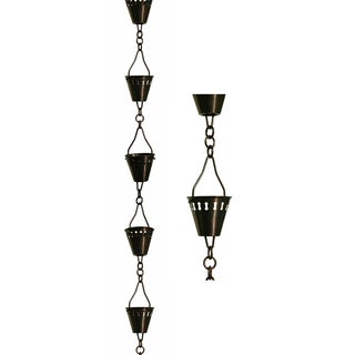 Patina Products R257 8.5' Antique Copper Shade Cup Rain Chain