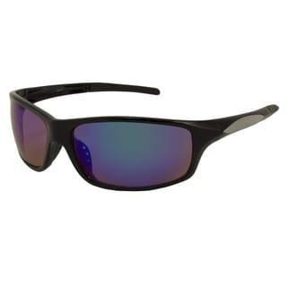 UrbanSpecs LR99149-BLK Sport Brown with Green Mirror Sunglasses