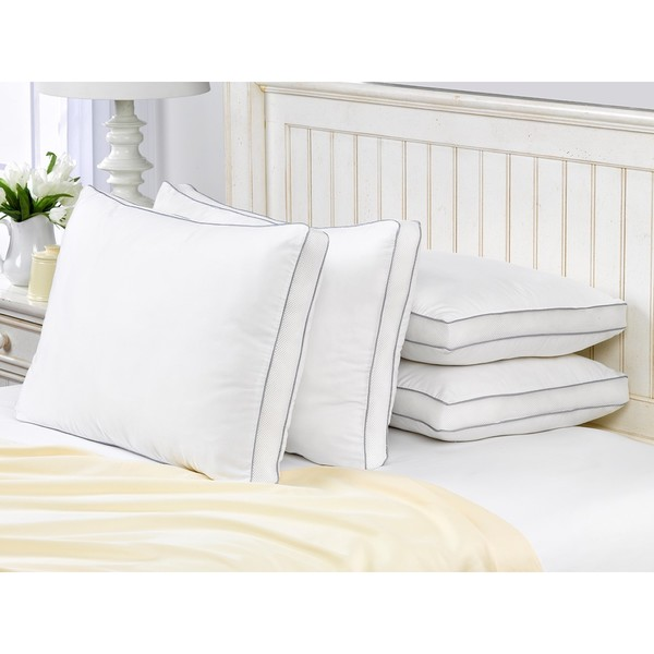 Exquisite Hotel Mesh Gusseted Gel Soft Pillow (Set of 4)