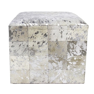 Forest Collection Cowhide Silver Ottoman