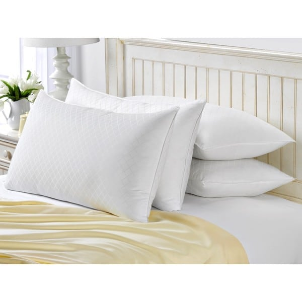 Exquisite Hotel Diamond Jacquard Gel Filled Soft Pillow (Set of 4)