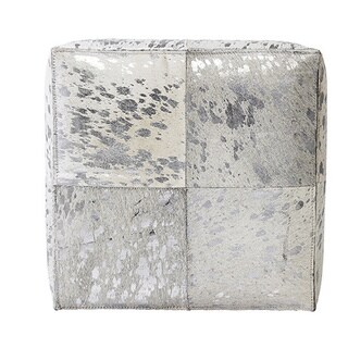 Forest Collection Silver-colored Cowhide Ottoman