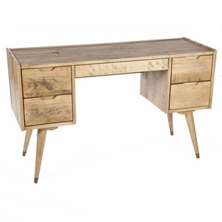 Hans Andersen Home Bruggen American Poplar/Birch Veneer Natural-wood Finish 5-drawer Vanity Desk