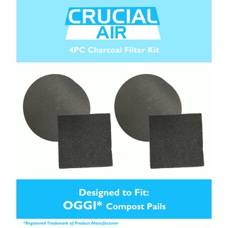 2pk Replacement Charcoal Filter Kit, Fits OGGI Countertop Compost Pails, Compatible with Part 7321